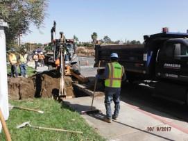 Excavation for SCE underground vault at Old Town Front Street sidewalk