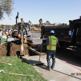 Excavation for SCE underground vault at Old Town Front Street sidewalk