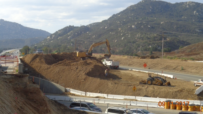 Excavation along SB On-ramp