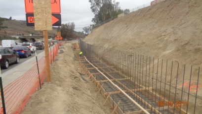 Formwork and Steel Reinforcement for Foundation of Retaining Wall along Temecula Parkway.