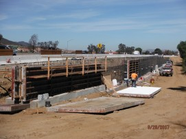 Forming Retaining Wall Along North Bound On-Ramp