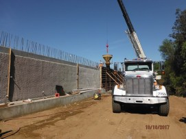 Concrete pour at retaining wall along northbound on-ramp