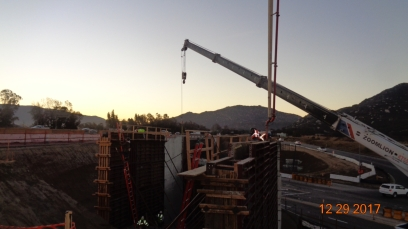 Concrete pour at new bridge supporting wall