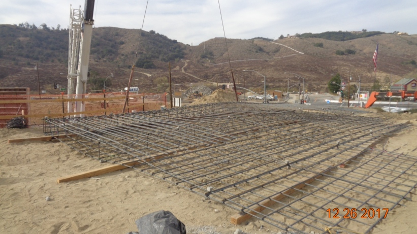 Steel rebar for new bridge support wall