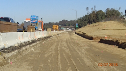 Road grade along NB On-ramp